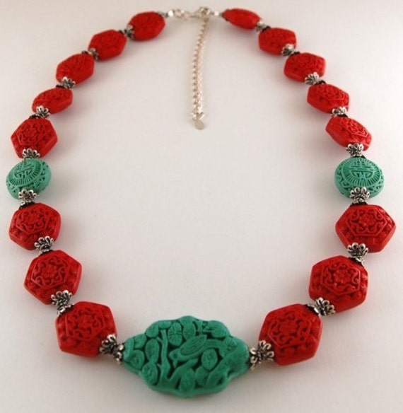 Ornate Carved Bird and Flower Red and Turquoise Cinnabar  Sterling Vintage Necklace