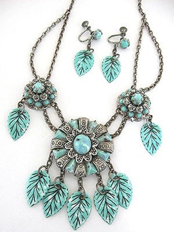 1940s Silver Turquoise LEAF Floral Vintage NECKLACE Earrings Set