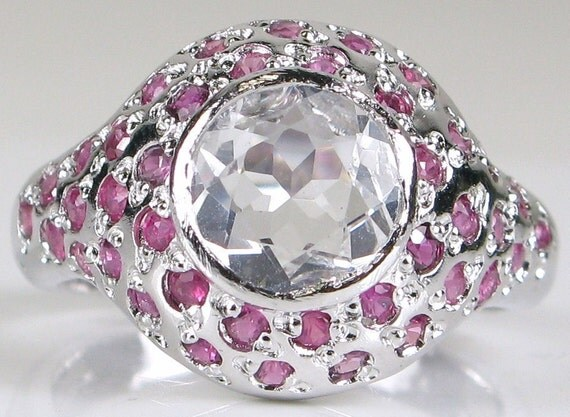 Estate Sterling Silver White Sapphire and Ruby Vintage Ring