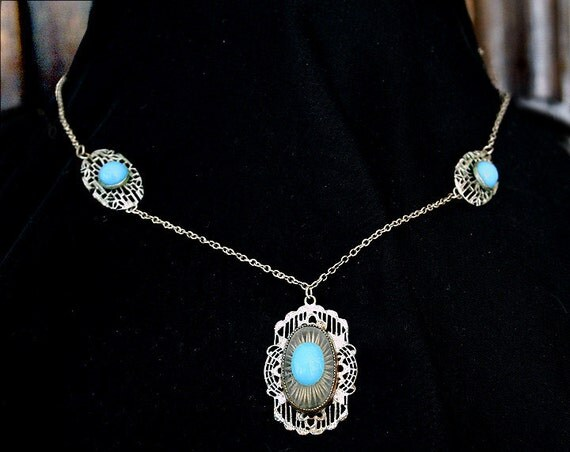 SALE 1920s Art Deco Rhodium and Blue Glass Vintage Necklace