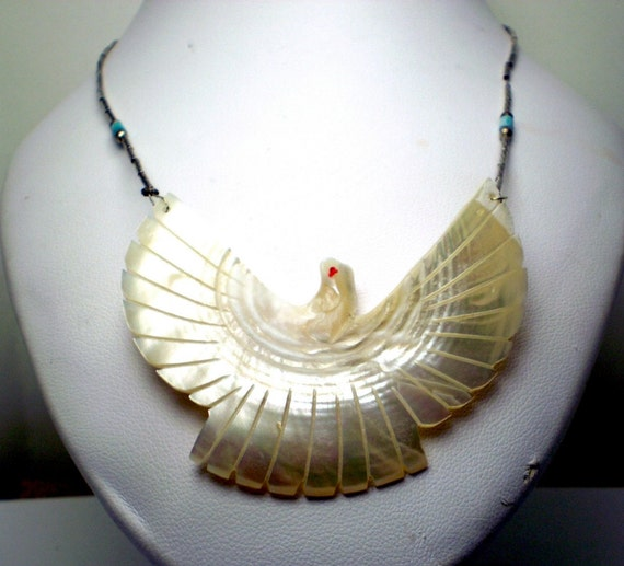 Large Carved Mother Of Pearl Eagle Bird Sterling Silver