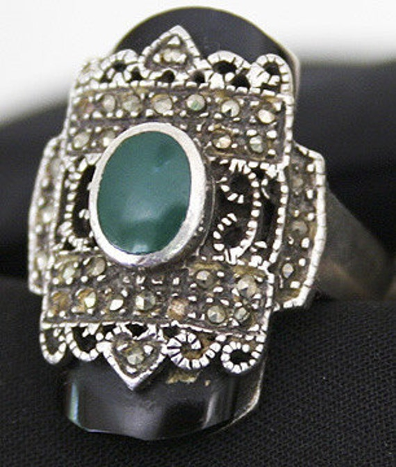 Stunning Black Onyx and Green Chrysoprase with Marcasite Sterling Silver Vintage Ring