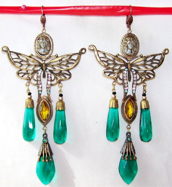Stunning Art Deco Ornate Cameo Butterfly Czech Glass Vintage Earrings
