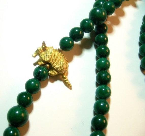 Stunning Chinese Carved Jade Fetish Vintage Necklace