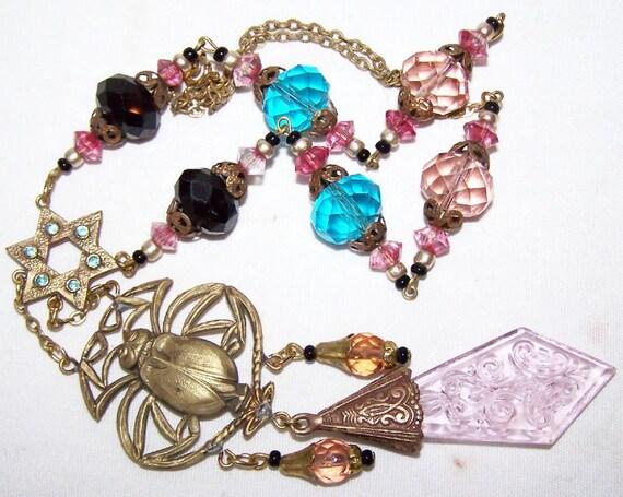 Mystical Art Deco Star of David Scarab Czech Vintage Necklace