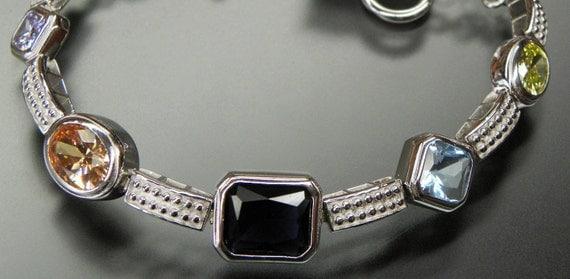 Lovely Multi Color Topaz Sterling Silver Vintage Tennis Bracelet