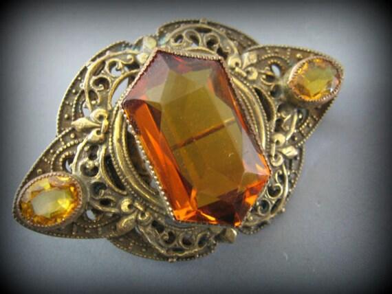 Lovely Art Nouveau Amber Czech Glass Vintage Brooch