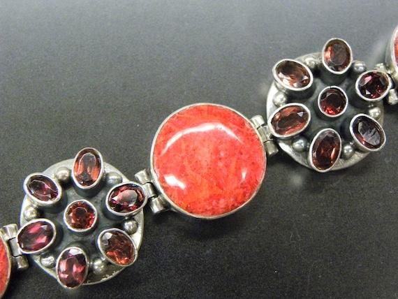 Stunning Garnet Spiny Oyster Coral Sterling Silver Vintage Bracelet