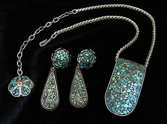 Reserved - Wonderful Turquoise silver Vintage CLIP Necklace Earrings Set