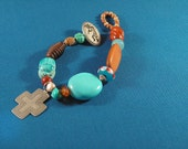 NEW MEXICO SKY turquoise  red earth silver cross bracelet