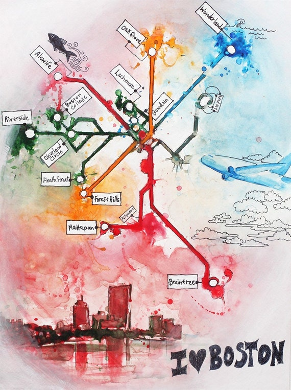 "I Love Boston - Boston Subway map painting (The T) 8.5"" x 11"""