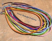 Braided Leather Necklace Cord 3mm Assorted Colors 5 pcs You Pick a Color 10 Colors Availables
