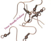 Ear Wire Earring Hooks Antique Copper 50 pcs Fishhook with Ball and Coil French Earring Hook