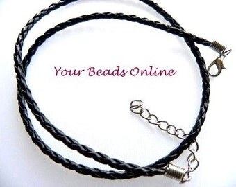 Braided Leather Necklace Cord Black with Extension Chain 2 pcs