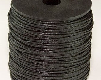 Wax Cotton Cord 1mm Black 8 yards or 24 feet  22 Colors Availables