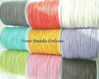 Wax Cotton Cord 1mm You Pick 25 yards or 75 feet  5 Colors 5 yards per Color 25 Colors Availables