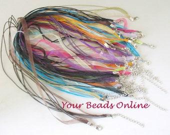 Organza Voile Ribbon Cord Necklace 5 pcs You Pick a Colors 10 Colors Availables