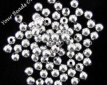 100 Smooth Round Silver Plated Bead 3mm