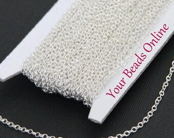 32 ft Spool Silver Plated Cable Chain 3mm x 2mm