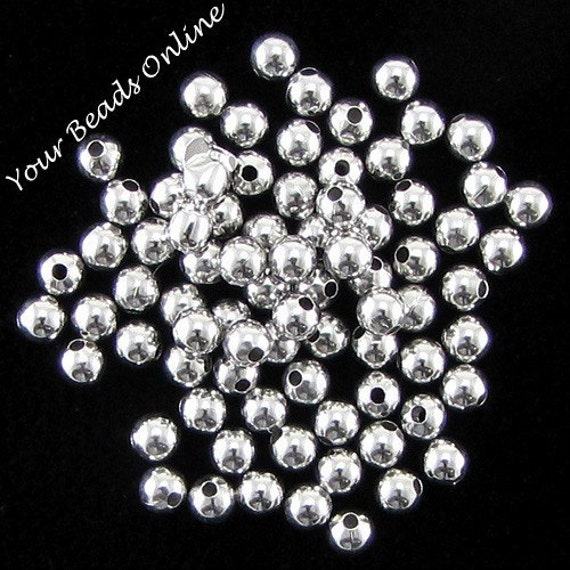 Smooth Round Silver Plated Bead 2mm 200 pcs