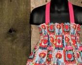 Strawberry Shortcake Smocked Halter Dress 12m 18m Childrens Spring Clothing Ready to Ship