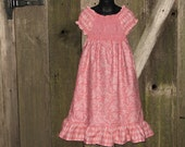 Childrens Clothing, Smocked Peasant Dress Girls Size 7 Pink Floral Harlequin Ready to Ship