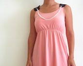 ON SALE- Cocktail Dress -  'Lucy' cocktail dress with beaded necklace- peachy pink dress