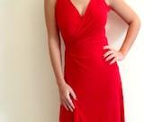 Custom Dress-Red  Wrap Plus Size Custom Dress
