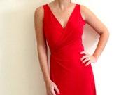 Wrap Dress - Feminine Red Wrap Dress,  ON SALE DRESS