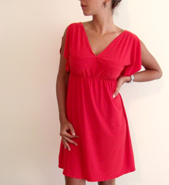 ON SALE Cocktail Butterfly Dress with V Neckline- Red