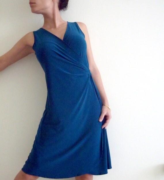 Wrap Dress- Fminine Teal Blue Wrap Dress,  September Sale