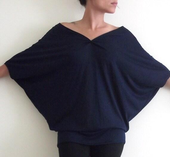 Oversize Tunic/Top-  'Wings'  dark blue tunic/top