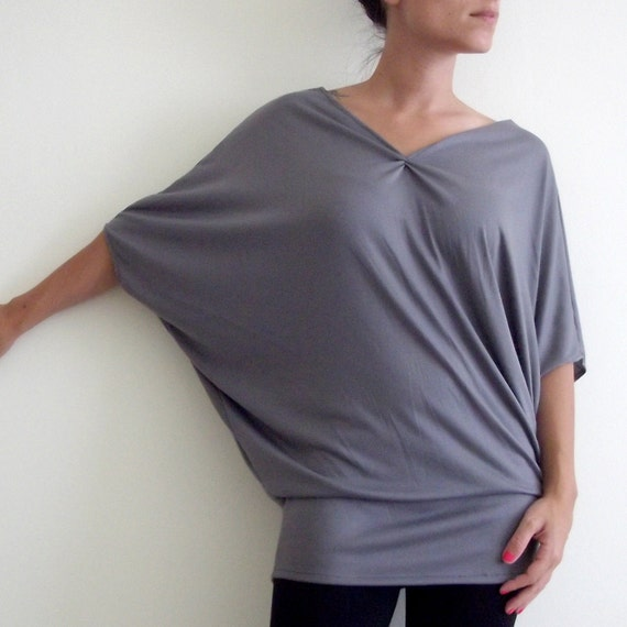 Grey  Cotton Tunic Top- Oversize 'Wings'  Top