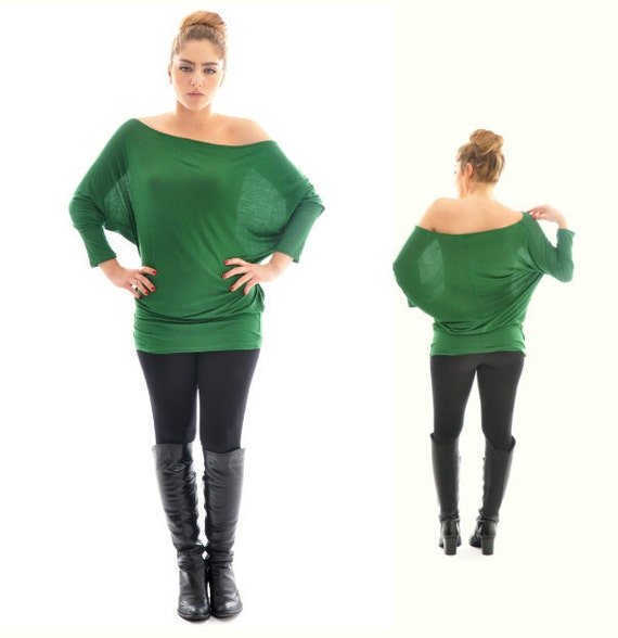 Maternity top ON SALE- Long Sleeve Tunic Top/ Oversize green cotton tunic top/ Maternity clothing/ Plus size top