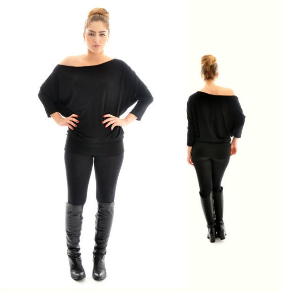 Women top ON SALE/ Black Top/ Oversize cotton with long sleeves/ Maternity top/ Winter top/ Plus size top