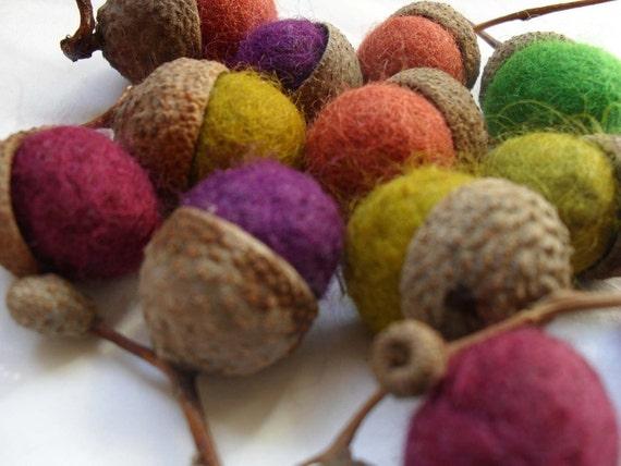 One dozen wool felt acorns - table decoration,good luck charm...