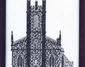 Blackwork/counted cross stitch kit of The Stone Church, Saint John, New Brunswick