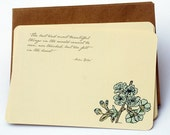 In The Heart Notecard Set in Cream, Blue and Taupe -Set of 6 flat Notecards and Kraft Envelopes