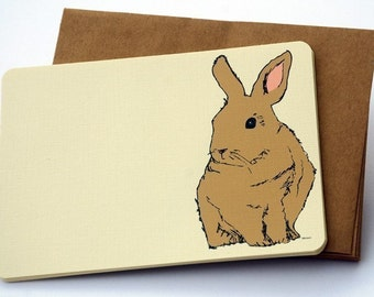 The Brown Hare Notecard Set in brown and cream -Set of 6 flat Notecards and Kraft Envelopes