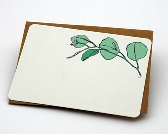 A Green Branch Notecard Set in Green and Cream - Set of 6 flat Notecards and Kraft Envelopes