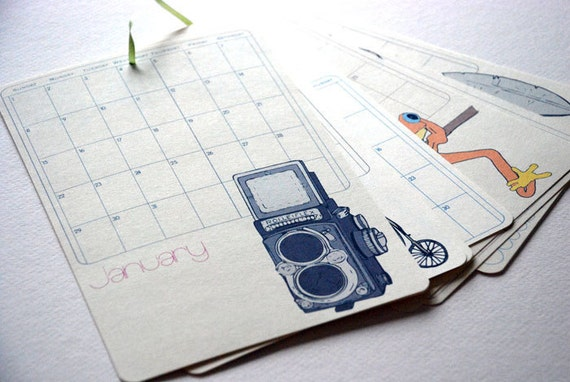 SALE - 2012 Wall Calendar - Mix II by Olive and Ruby