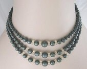 Deep Green Lucite Moonglow Three Strand Vintage Plastic Choker Necklace