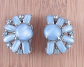 SALE Exquisite Vintage BLue Rhinestone and Glass Stone Clip Earrings