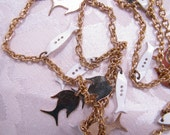 Long Gold Plated Chain Necklace with Fish Charms 50  Inch