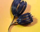 Vintage Navy Blue Flower Brooch