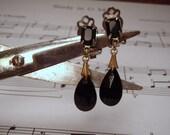 Dainty Neo Victorian Black Gangle Pressed Glass Bead Clip on Earrings