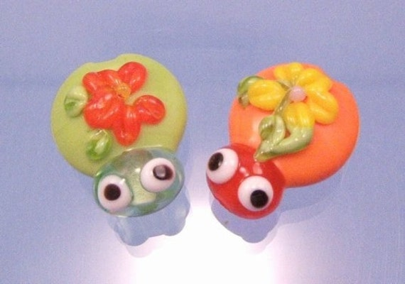 Lamp work Beads Tropical Cutie Bugs by MugsysBeads on Etsy