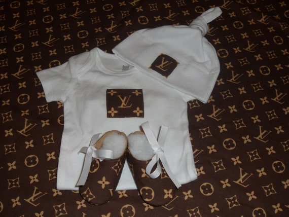 Designer Inspired Louis Vuitton Print Baby Set