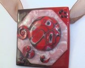 """Polymer clay necklace """"Abstraction"""" in red, black and pink.. Art jewelry"""