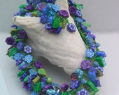 Summer Dreams - polymer clay seed beaded necklace with flowers in shades of blue and purple